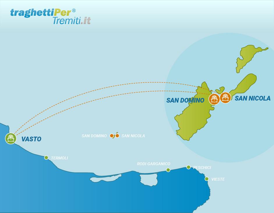 Prenotazione biglietto traghetto tratta da Vasto alle Isole ...