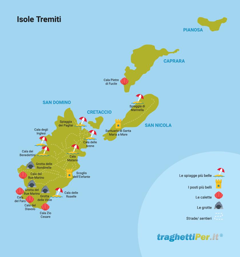 Cartina Geografica Delle Isole Tremiti.Isole Tremiti La Cartina Per Scoprire L Arcipelago